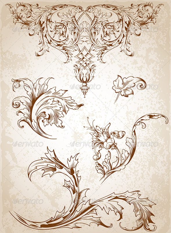 590x805 Vintage Victorian Floral Elements By Artness Graphicriver