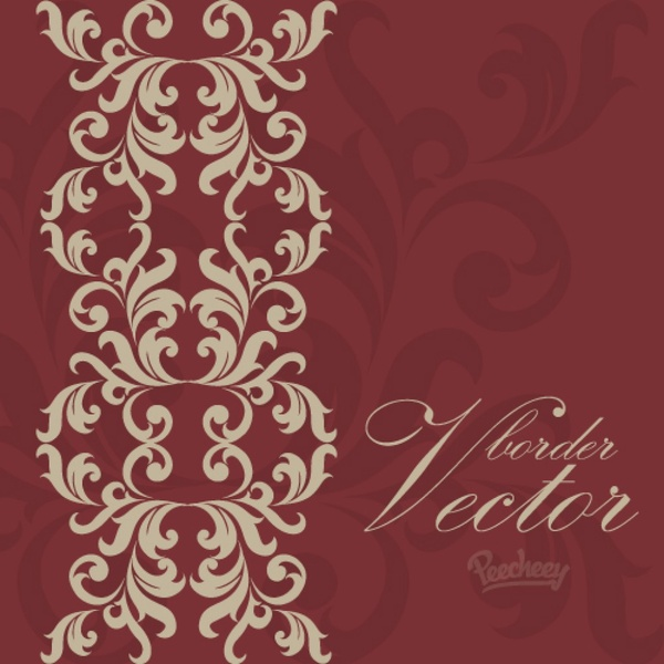 600x600 Vintage Bordeaux Background With Victorian Floral Elements Free