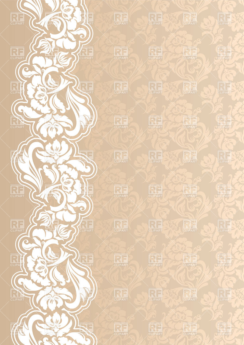 848x1200 Beige Victorian Floral Wallpaper With Lacy Border Vector Image