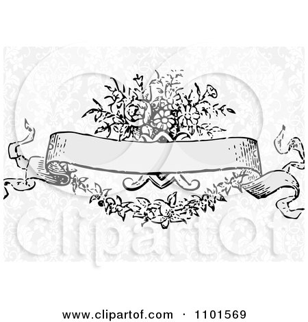 450x470 Clipart Victorian Floral Banner Over Gray Damask