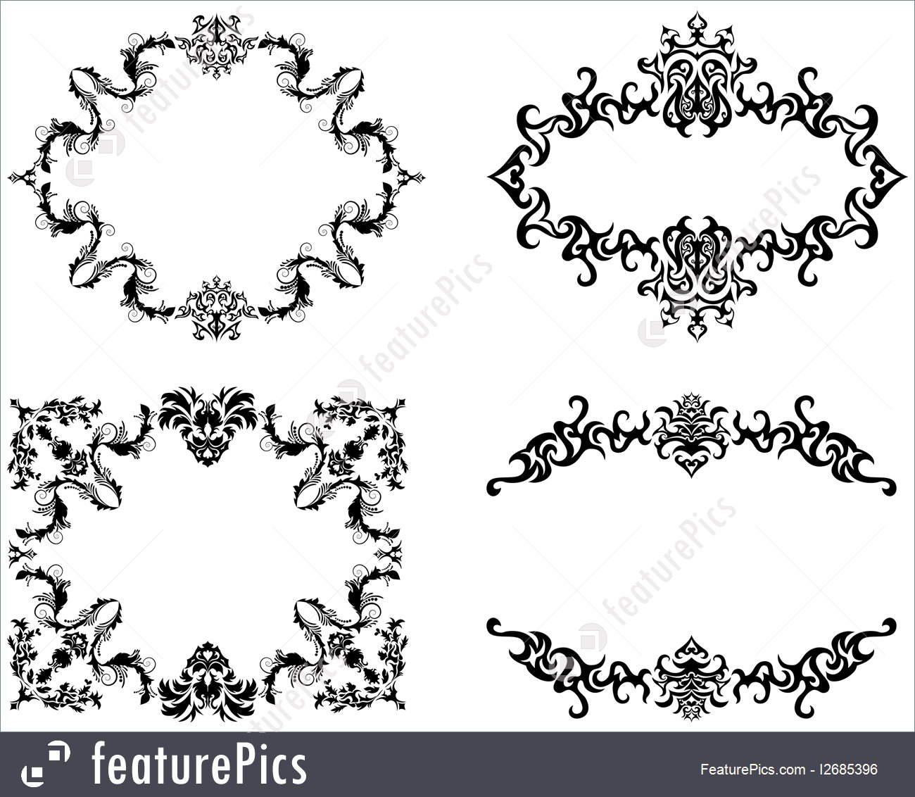 1300x1132 Floral Vector Frame Backgrounds Set In Victorian Style