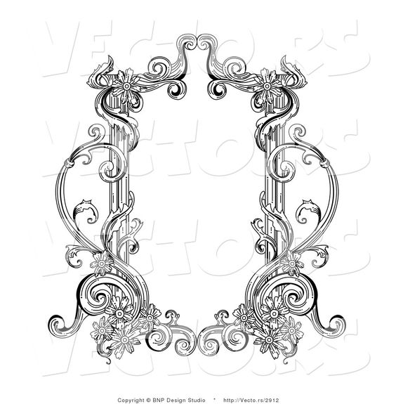 564x575 Images Of Black Victorian Frame Vector