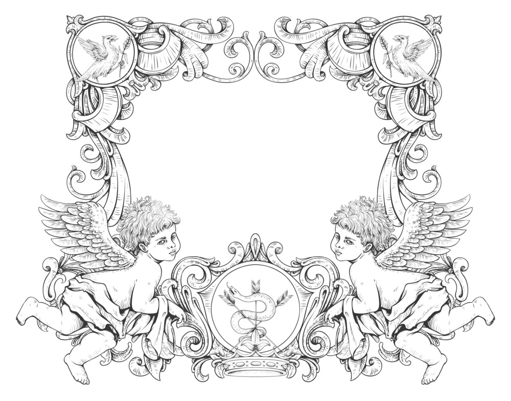1000x786 Vector Victorian Frame With Angels Royalty Free Stock Image