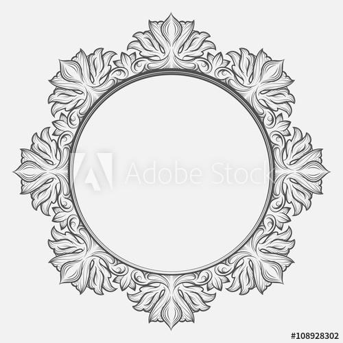 500x500 Vintage Victorian Frame. Round Baroque Engraving Border Floral