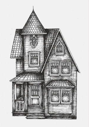 300x429 Drawn House Victorian Architecture