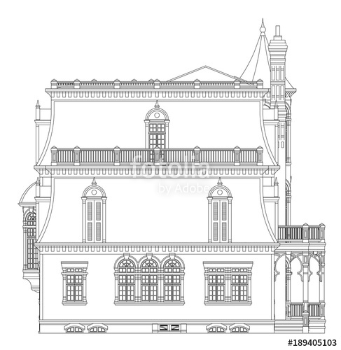487x500 Old House In Victorian Style. Illustration On White Background