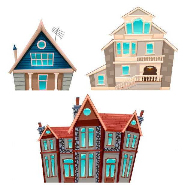626x626 Three Cartoon Houses Vector Free Download