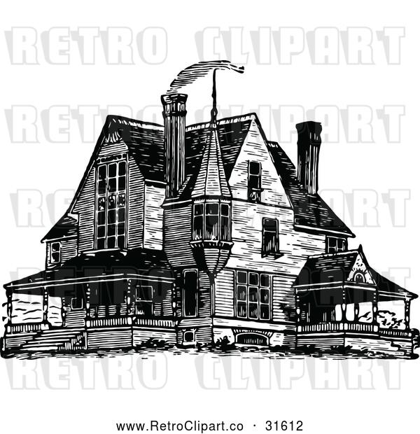 600x620 Vector Clip Art Of Retro Victorian Queen Anne Style House 1 By