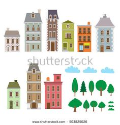 236x246 Vector Illustration Of Victorian Style Houses. Victorian