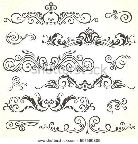 450x470 Victorian Design Elements Vector Set Of Calligraphic Elements For