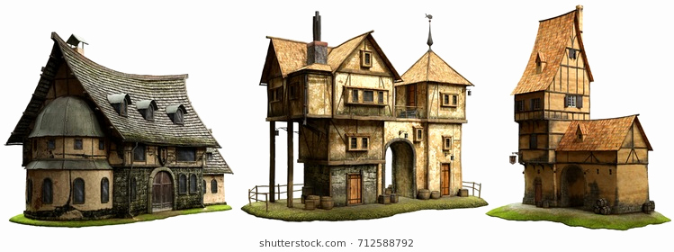 749x280 Victorian Mansion Isometric Colonial House Vector Set Download