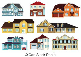 272x194 Victorian Blue Village House. Detailed Isolated Vector Old Town