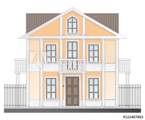 500x417 Vintage Victorian House Isolated On White Background