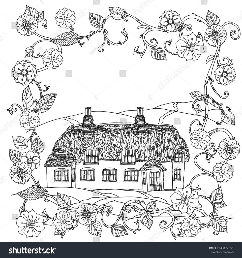 960x1024 Coloring Book House New Coloring Book House Theme Image 1 Stock