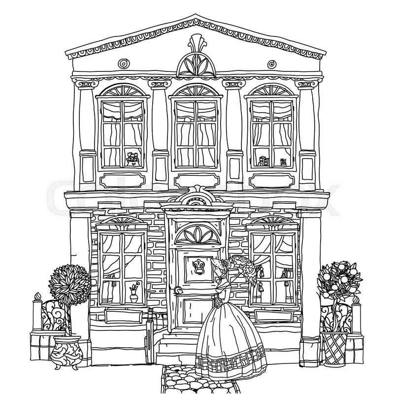 800x800 Contoured Black And White Victorian House With A Strolling Woman