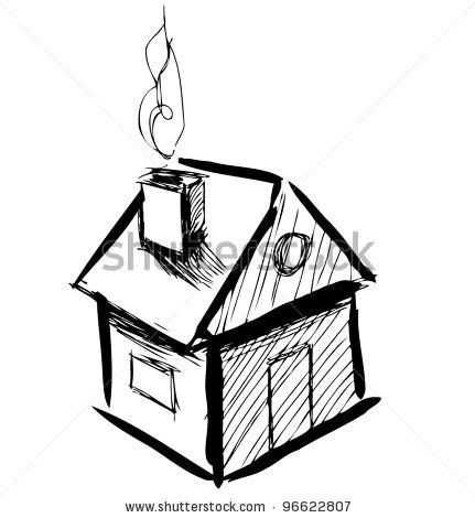 431x470 Cute Little House With Smoke Sketch Vector Illustration By
