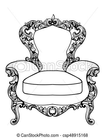 357x470 Imperial Baroque Armchair With Luxurious Ornaments. Vector French