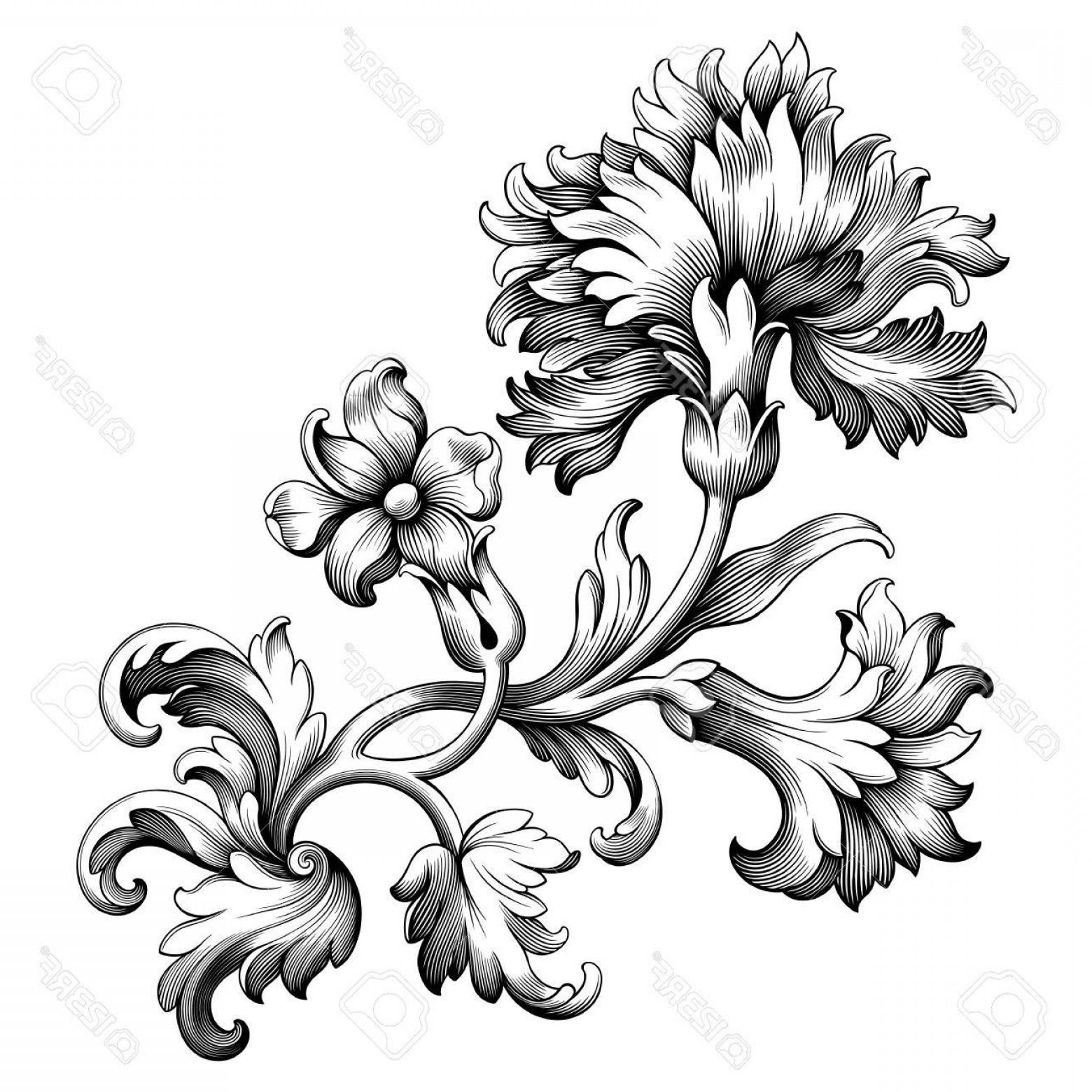 1560x1560 Photostock Vector Rose Peony Carnation Flower Vintage Baroque