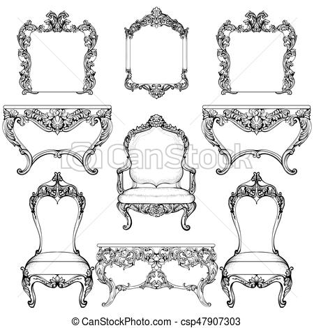 450x470 Rich Baroque Rococo Furniture And Frames Set. French Luxury Carved