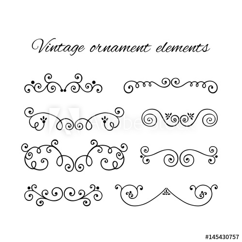 500x500 Set Of Decorative Text Divider. Victorian Swirly Ornaments Vector