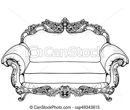 450x380 Baroque Armchair With Luxurious Ornaments. Vector French Luxury