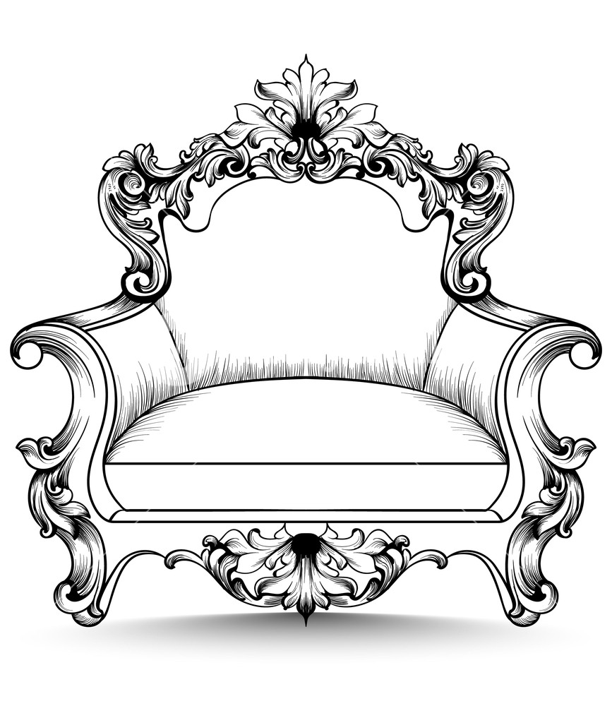 867x1000 Baroque Armchair With Luxurious Ornaments. Vector French Rich
