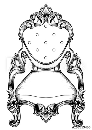 352x500 Baroque Chair With Luxurious Ornaments. Vector French Luxury Rich
