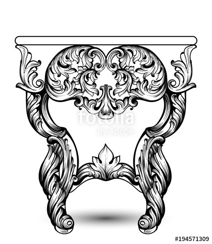 434x500 Baroque Console Table With Luxurious Ornaments. Vector French