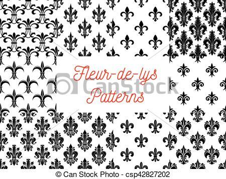 450x357 Victorian Fleur De Lis Seamless Patterns Set. Victorian Fleur De