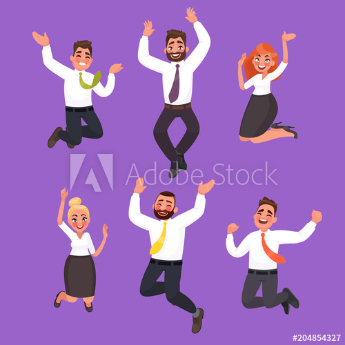 500x500 Set Of Happy Business People Jumping. Office Workers Celebrate The