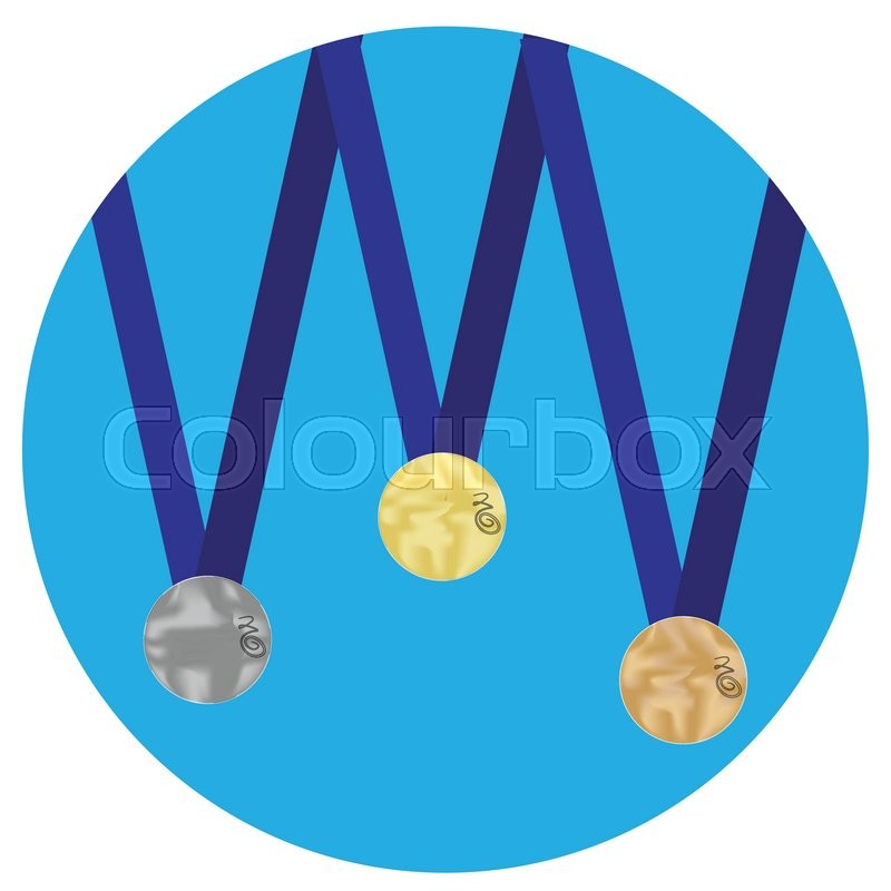 800x800 Set Of Medals Gold Silver Bronze Icon. Trophy And Gold Medal