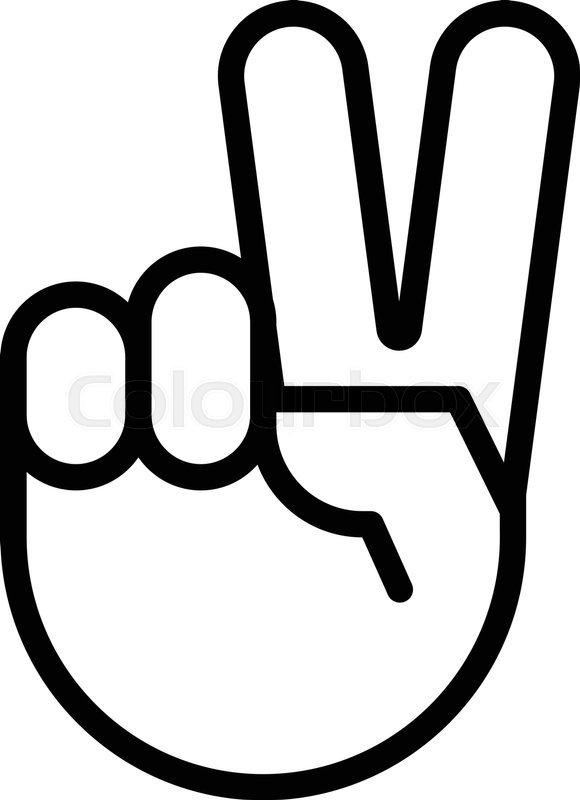 580x800 Sign Of Victory. The Gesture Of The Hand. Two Fingers Raised Up