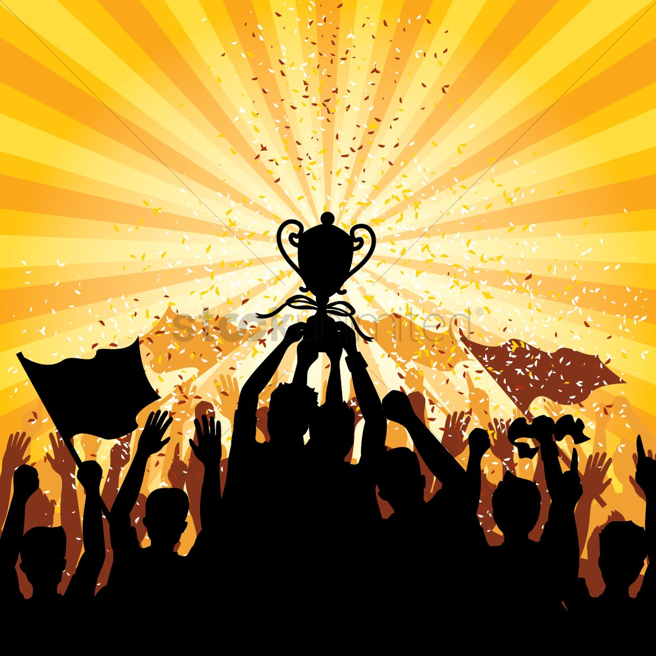 1300x1300 A Crowd Celebrating A Victory Vector Image