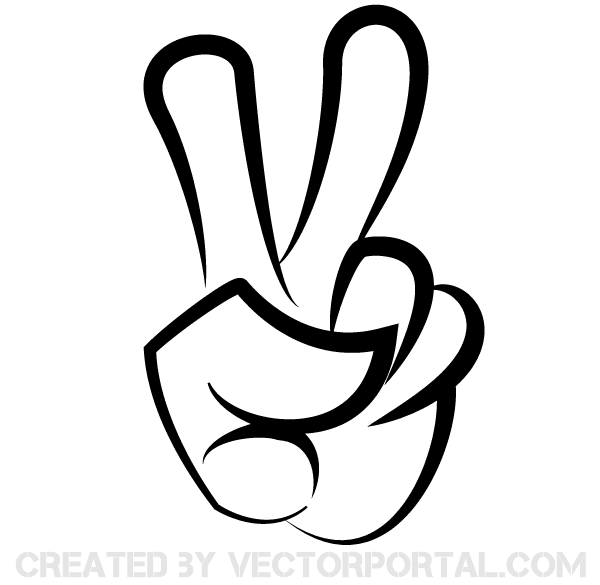 600x585 Victory Sign Vector Image Free Hands Vector Art