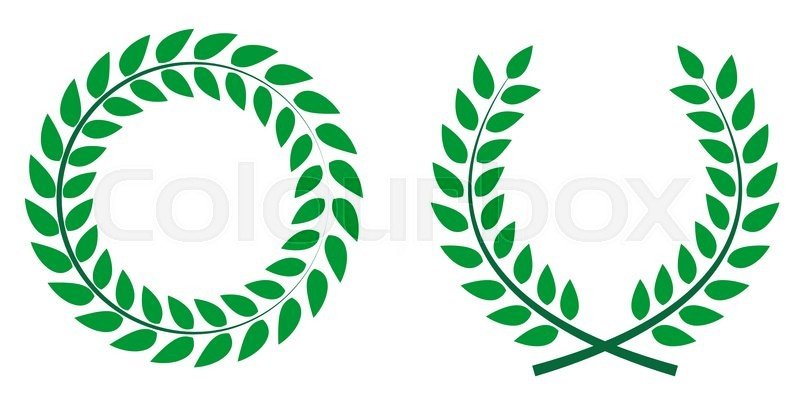 800x406 Award Laurel Wreath. Winner Leaf Label, Symbol Of Victory. Vector