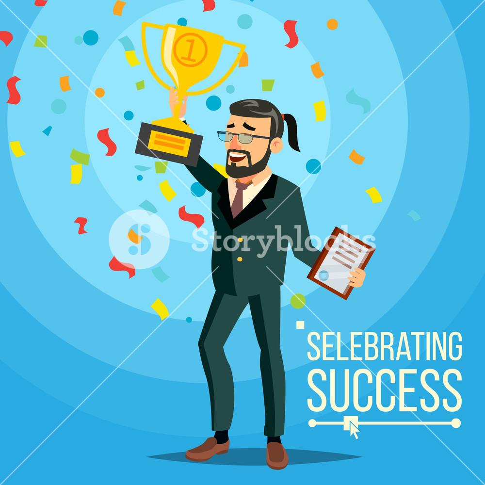 1000x1000 Business Victory Vector. Joyful Bearded Businessman With Winner