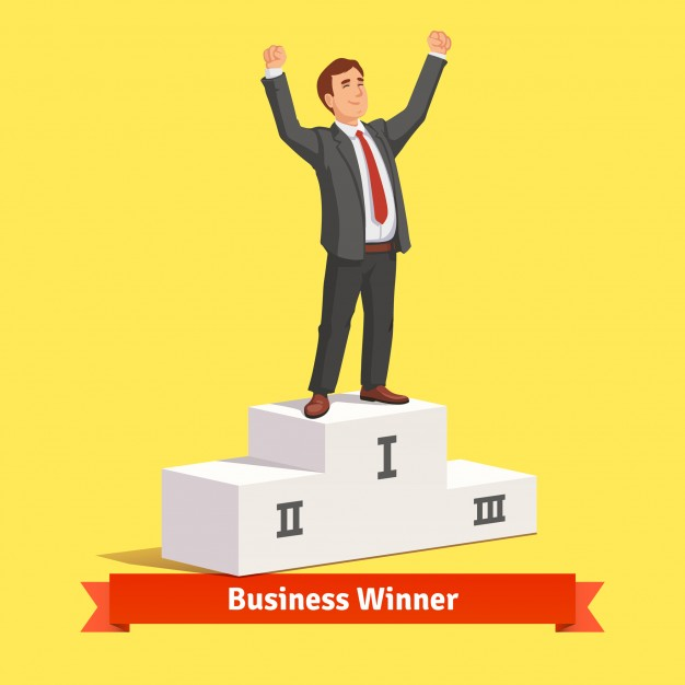 626x626 Businessman Celebrating His First Place Victory Vector Free Download