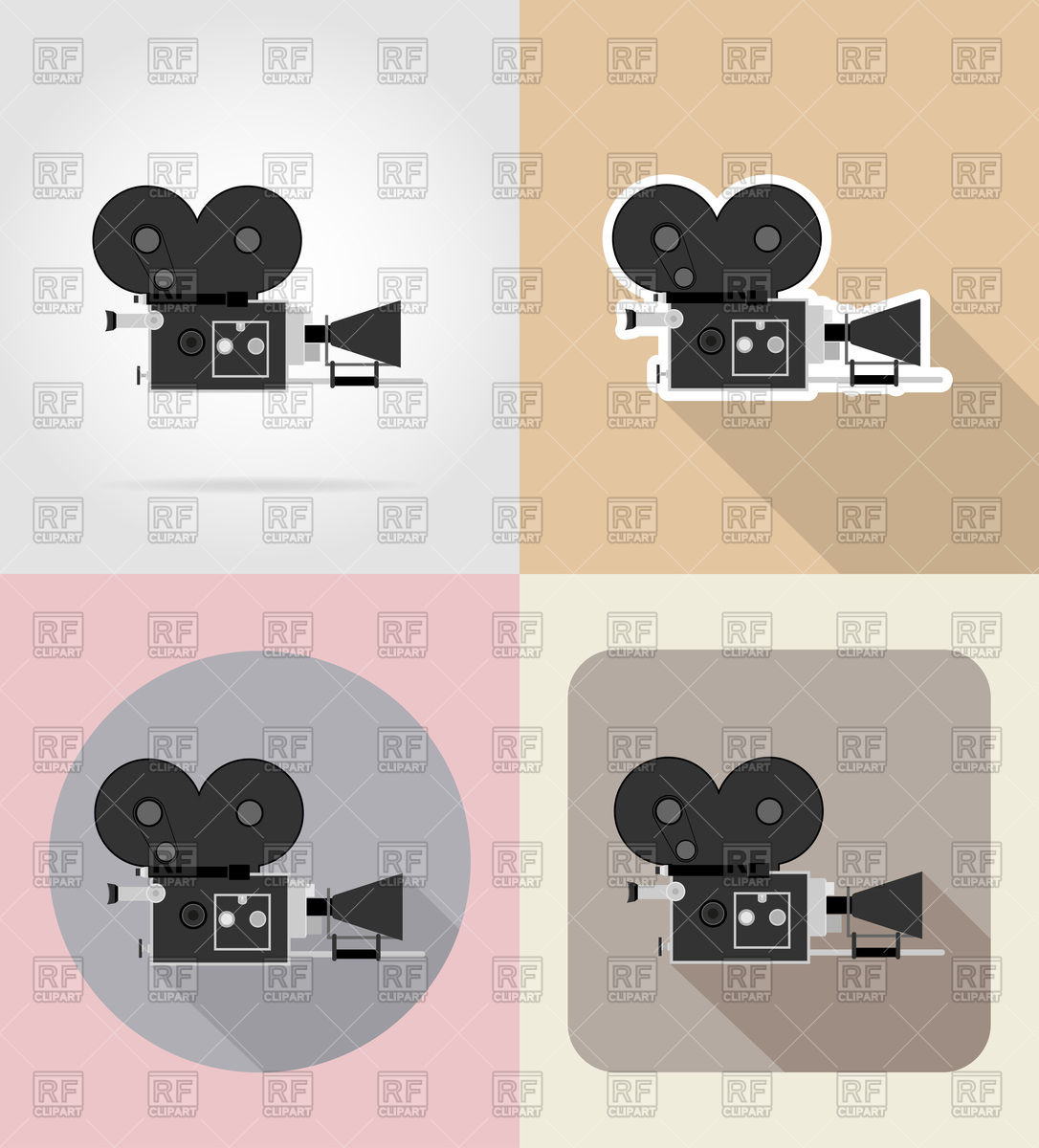 1086x1200 Old Retro Vintage Movie Video Camera Flat Icons Vector Image