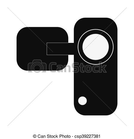 450x470 Flat Design Single Videocamera Icon Vector Illustration.