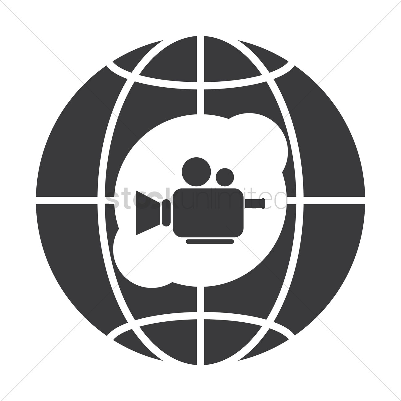 1300x1300 Globe Icon With Video Camera Vector Image