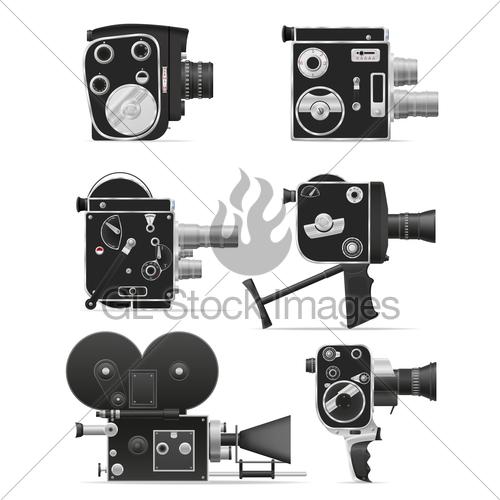 500x500 Old Retro Vintage Movie Video Camera Vector Illustration Gl