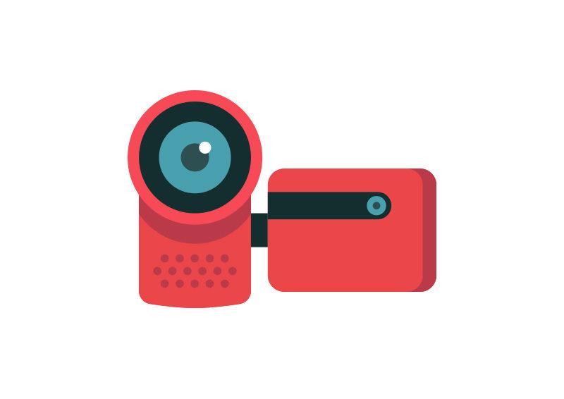 800x566 Video Camera Flat Vector Icon