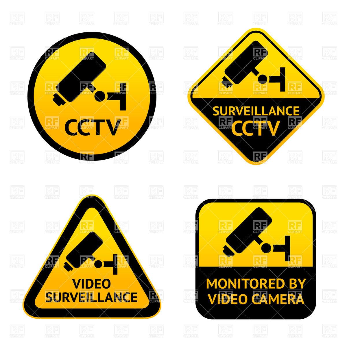 1200x1200 Video Surveillance, Set Of Symbols Of Security Camera Vector Image