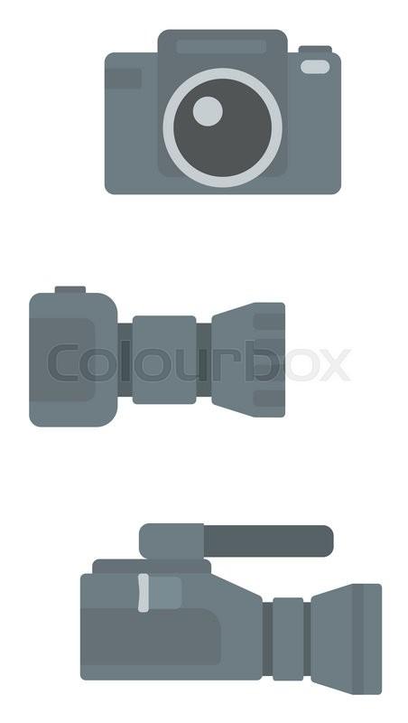 452x800 Digital Photo Camera And Professional Video Camera Vector Flat