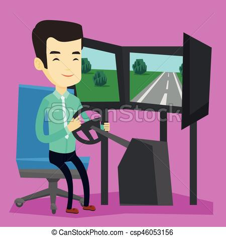 450x470 Man Playing Video Game With Gaming Wheel. Young Asian Man Playing