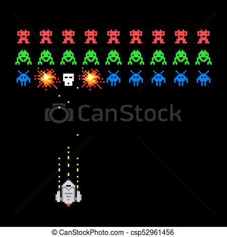 450x470 Pixel Space Invader Game. Cosmic Invaders Game. Pixel Space