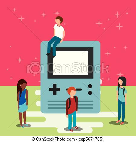 450x470 Video Game Classic. Gamers And Big Console Video Game Vector