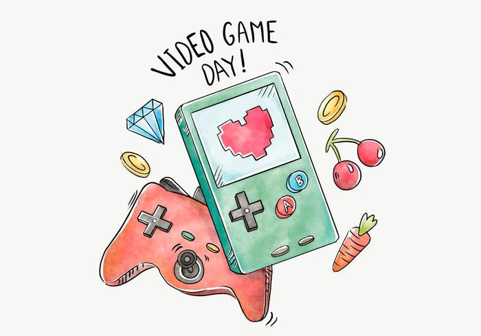 700x490 Watercolor Handheld Video Game Vector