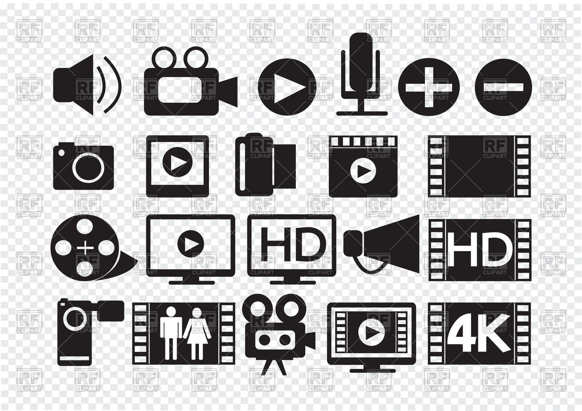 1200x848 Video And Movie Multimedia Icons Vector Image Vector Artwork Of