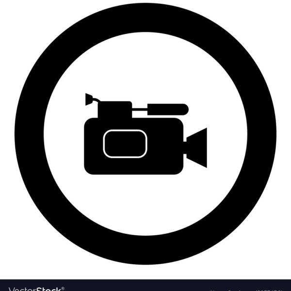 600x600 Videocamera Icon Black Color In Circle Royalty Free Vector Within